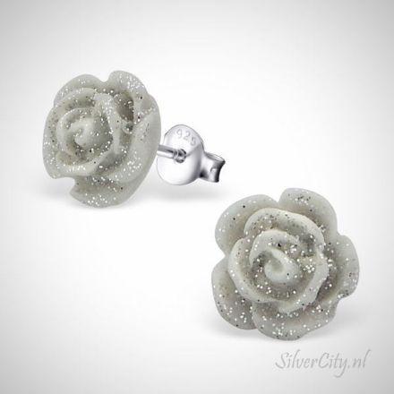 Afbeeldingen van Roos 925 sterling zilveren + plastic oorknopjes
