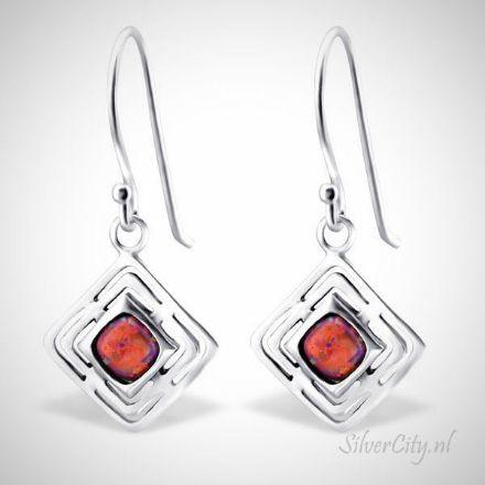 Afbeeldingen van Zilveren oorhangers - opaal - dames - carmine