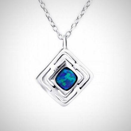 Afbeeldingen van Zilveren ketting met opalen hanger peacock