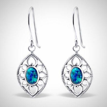 Afbeeldingen van Zilveren oorhangers marquise met opaal - peacock