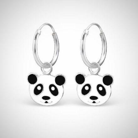Afbeeldingen van Panda 925 sterling zilveren en epoxy oorringen