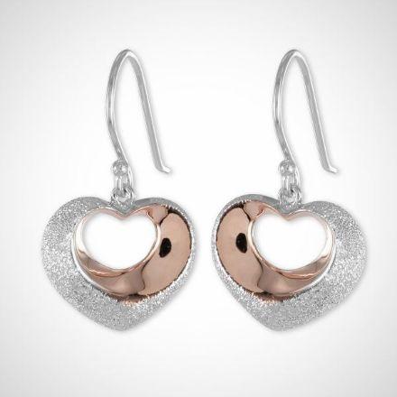 Afbeeldingen van Zilveren oorbellen - bicolor harts