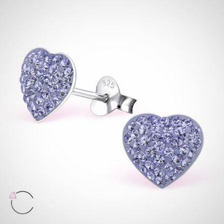Afbeeldingen van Zilveren kinderoorknopjes met swarovski kristallen hart - paars