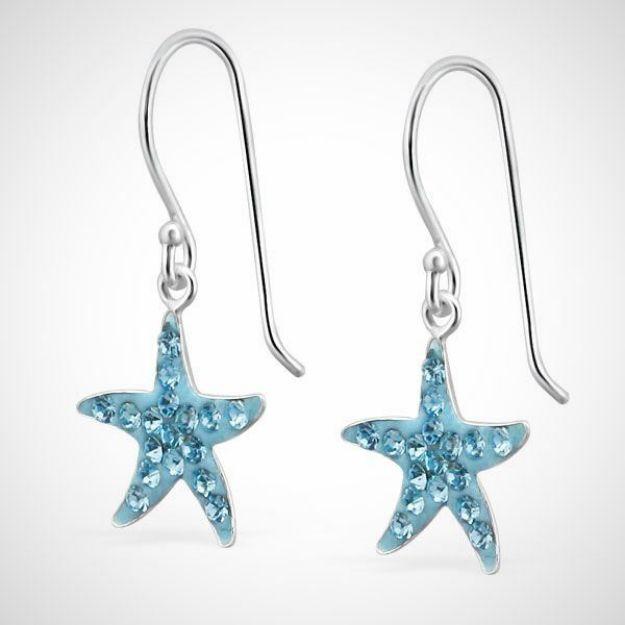 Afbeeldingen van 925 sterling zilveren oorhangers met kristallen zeester-blauw