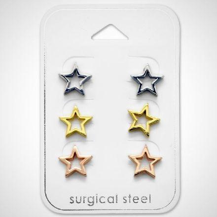 Afbeeldingen van Set 316L Chirurgisch roestvrij staal oorknoppen in de vorm van sterren