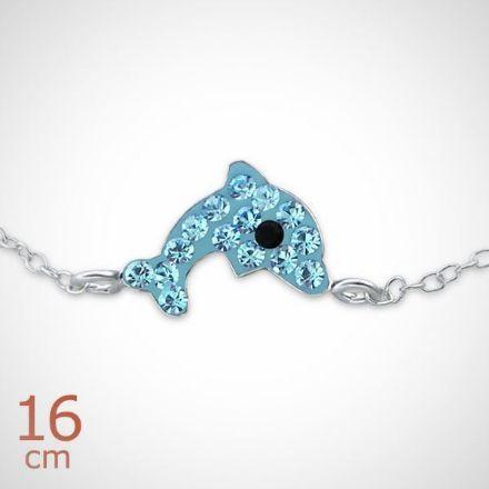 Afbeeldingen van Dolfijn 925 sterling zilveren armband blauw
