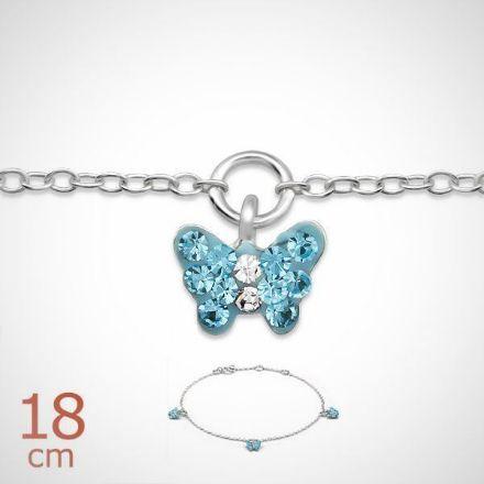 Afbeeldingen van zilveren kinderarmband met 3 blauwe vlinderbedels