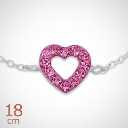 Afbeeldingen van Zilveren kinderarmband met roze kristallen hart