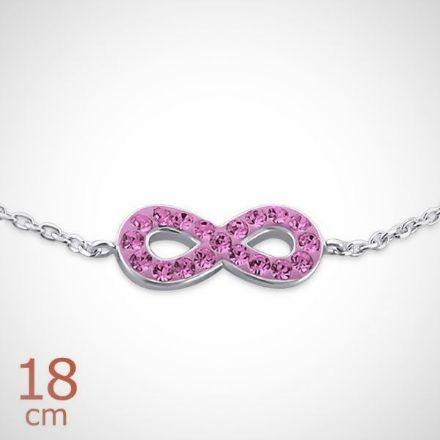 Afbeeldingen van Zilveren kinderarmband met roze kristallen - infinity