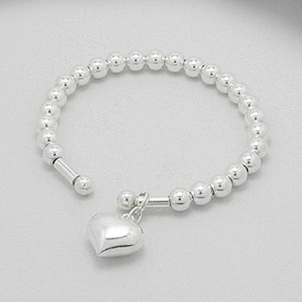 Afbeeldingen van 925 Zilveren kralen armband met een harten bedel