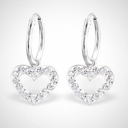 Afbeeldingen van Zilveren kinderoorringen met kristallen harthanger