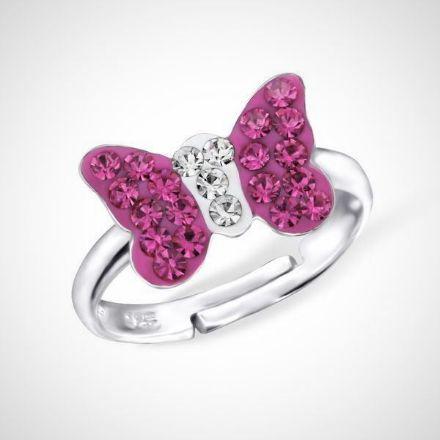 Afbeeldingen van Vlinder - 925 sterling zilveren kinderring - roze vlinder