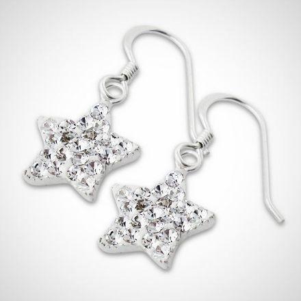 Afbeeldingen van Sterren - Zilveren oorhangers met kristallen sterren