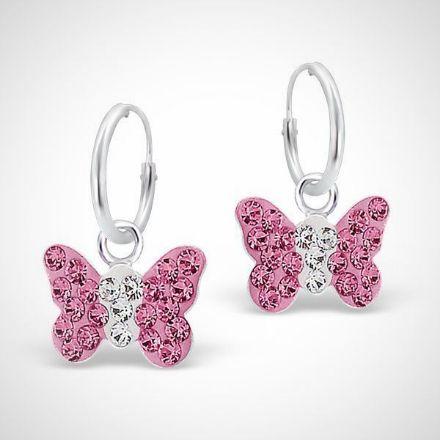 Afbeeldingen van 925 sterling zilveren kinderoorbellen - roze vlinder