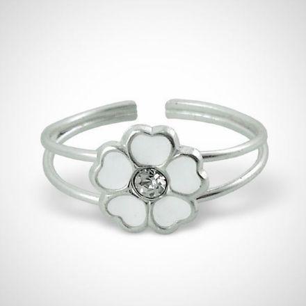 Afbeeldingen van Zilveren kinderring  met witte bloem