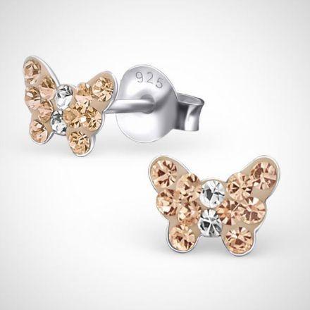 Afbeeldingen van Zilveren vlinder kinderoorknoppen - met kristallen