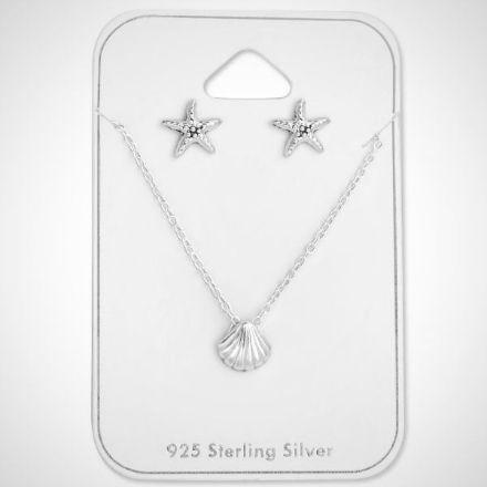 Afbeeldingen van Set 925 sterling zilveren kinder ketting en oorbellen oceaan