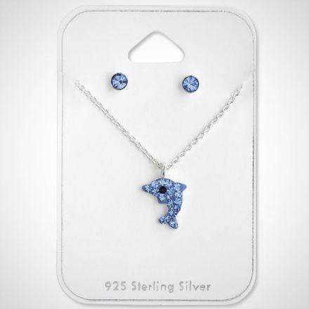 Afbeeldingen van Set 925 sterling zilveren kinder ketting en oorbellen dolfijn