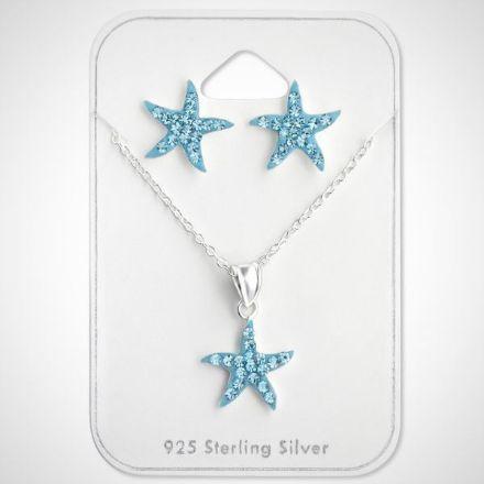 Afbeeldingen van Set 925 sterling zilveren kinder ketting en oorbellen zeester