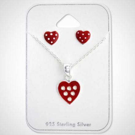 Afbeeldingen van Set 925 sterling zilveren kinder ketting en oorbellen hart