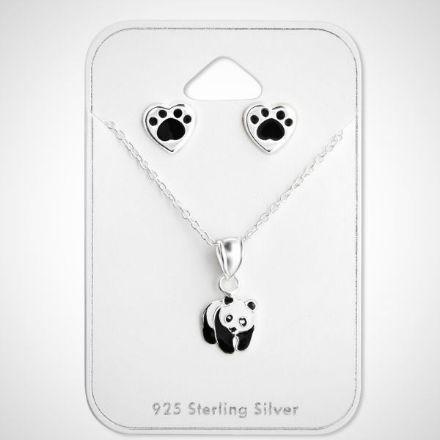 Afbeeldingen van Set 925 sterling zilveren kinder ketting en oorbellen panda