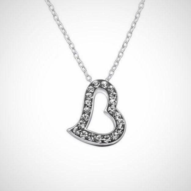 Afbeeldingen van Zilveren ketting + hanger met 21 kristal steentjes - black diamond