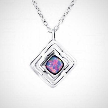 Afbeeldingen van Zilveren ketting met opalen hanger /multi lavender