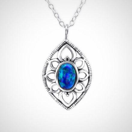 Afbeeldingen van zilveren ketting met hanger - opaal - dames - peacock