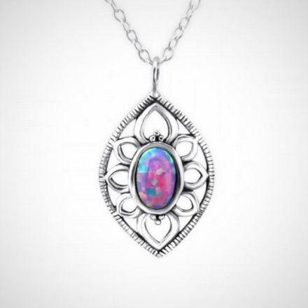 Afbeeldingen van Zilveren ketting met hanger - opaal - dames - multi lavender