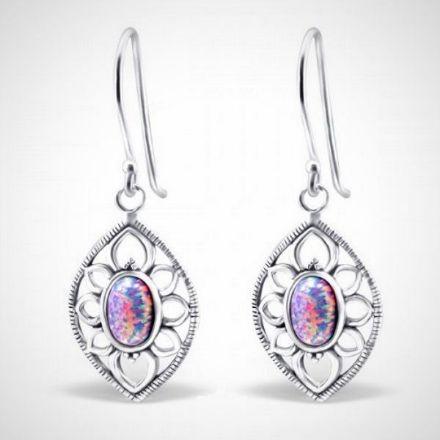 Afbeeldingen van Zilveren oorhangers marquise met opaal - multi lavender