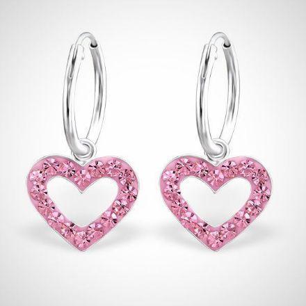 Afbeeldingen van Hart 925 sterling zilveren kinderoorringen met kristallen harthanger - roze
