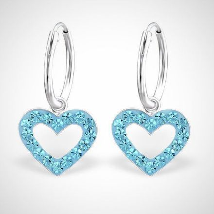 Afbeeldingen van Hart 925 sterling zilveren kinderoorringen met kristallen harthanger - blauw