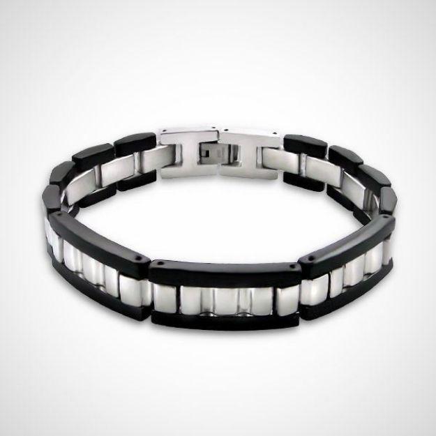 Afbeeldingen van Zwarte wijde - Chirurgisch roestvrijstalen heren armband schakel 22 cm