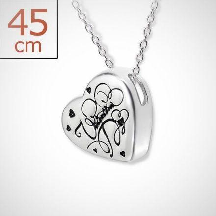 Afbeeldingen van Hart - Zilveren ketting 45 cm met hart hanger