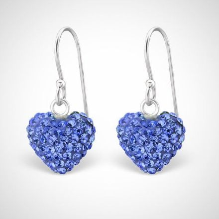 Afbeeldingen van Hart - Zilveren oorhangers met kristallen paars