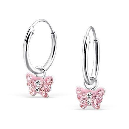 Afbeeldingen van Kleine vlinder 925 sterling zilveren kinderoorringen - roze