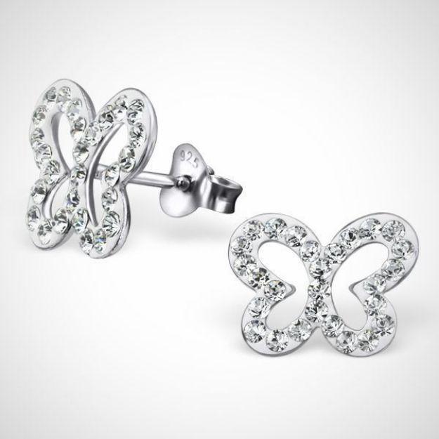 Afbeeldingen van Zilveren kinderoorknoppen - vlinder met Kristal