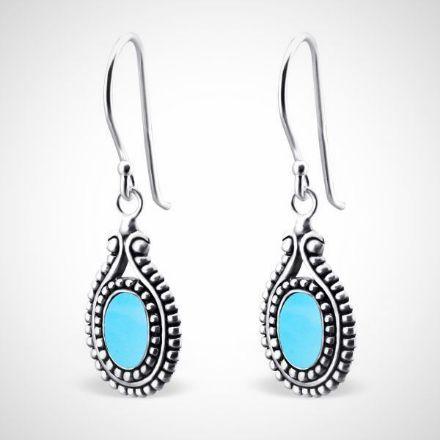 Afbeeldingen van Zilveren dames oorhangers - turquoise
