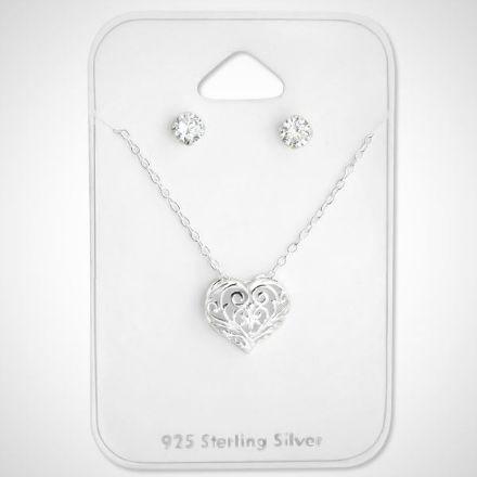 Afbeeldingen van Hart Set 925 sterling zilveren ketting en oorknoppen