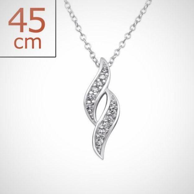 Afbeeldingen van Zilveren ketting + hanger met 12 kristal steentjes - kolken