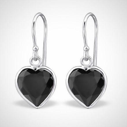 Afbeeldingen van Hart - zilveren dames oorhangers met zirkonia zwart