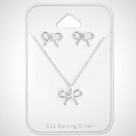 Afbeeldingen van Strikset - Zilveren ketting 45 cm met strik hanger en strik oorknoppen