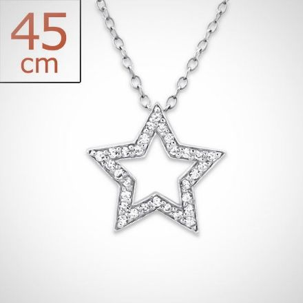 Afbeeldingen van Zilveren Ster ketting + hanger met  30 kristal steentjes