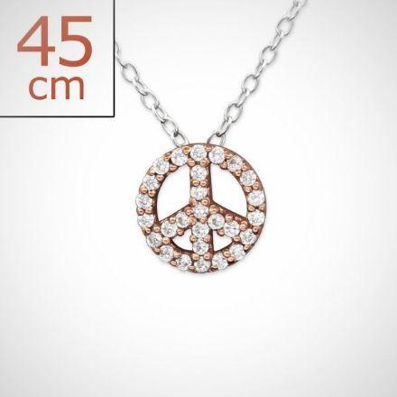 Afbeeldingen van Vrede - 925 sterling zilveren rose gold plated ketting 45 cm met vredesteken