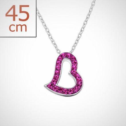 Afbeeldingen van Zilveren ketting + hanger met 21 kristal steentjes - Fuchsia