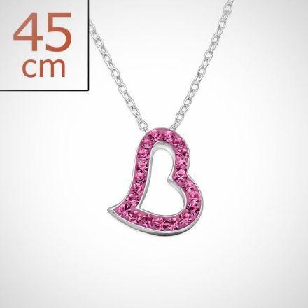 Afbeeldingen van Zilveren ketting + hanger met 21 kristal steentjes - Roze
