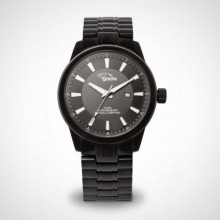 Afbeeldingen van Gooix herenhorloge -  Gooix GX 06003 00G - Zwart metalen rvs analoog quartz herenhorloge
