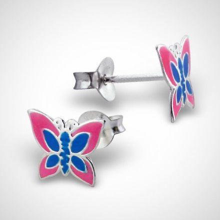 Afbeeldingen van Zilveren oorstekers voor kinderen - vlinder - roze/blauw