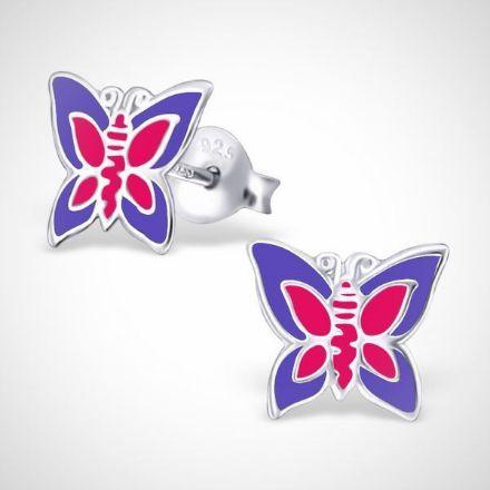 Afbeeldingen van Zilveren oorstekers voor kinderen - vlinder - paars/roze