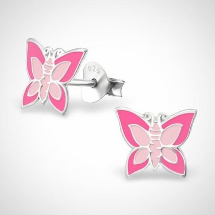 Afbeeldingen van Zilveren oorstekers voor kinderen - vlinder - roze